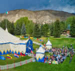 Circus tent in the mountains